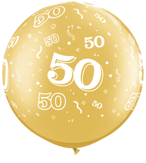 """30"""" 50 All Around Gold Latex Balloons (2 Count)"""
