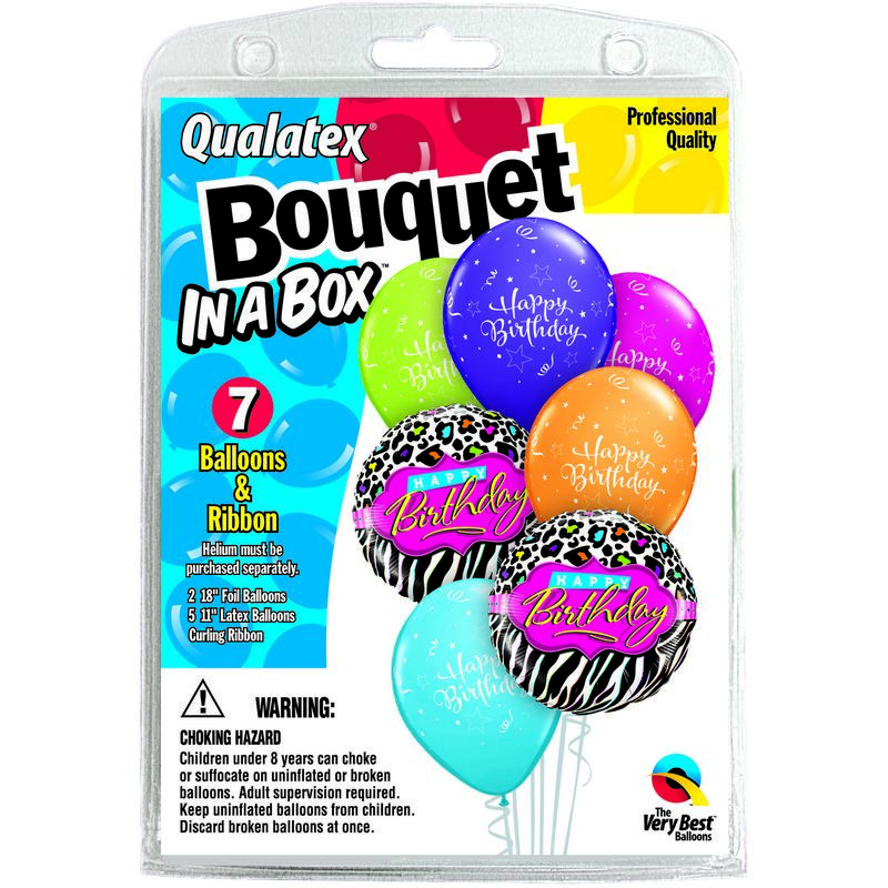 7 Balloons  Happy Birthday  Leopard Bouquet