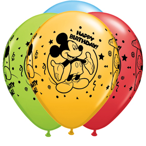 "11"" Assorted Latex Balloons Mickey Happy Birthday"