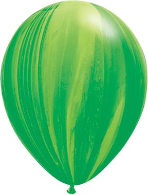 "11"" Green Rainbow Super Agate Latex Balloons"