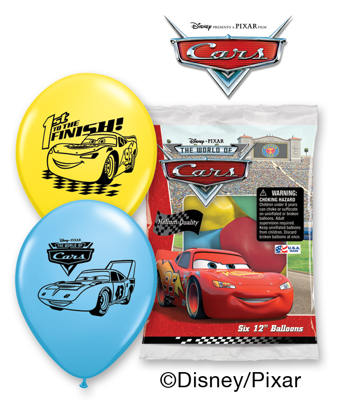 "12"" Disney Cars 6 pack Latex Balloons"