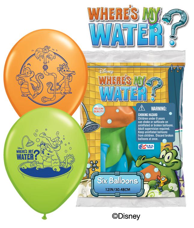 "12"" Where's My Water? 6 pack Latex Balloons"