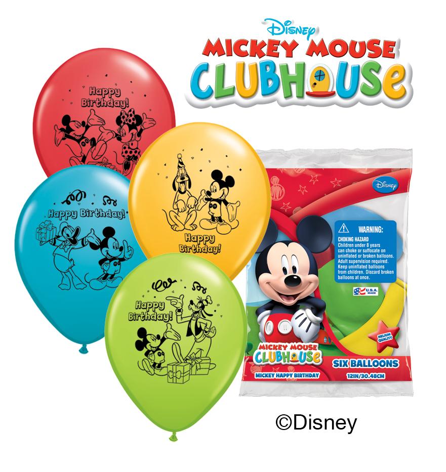 "12"" Mickey Happy Birthday 6 pack Balloons"