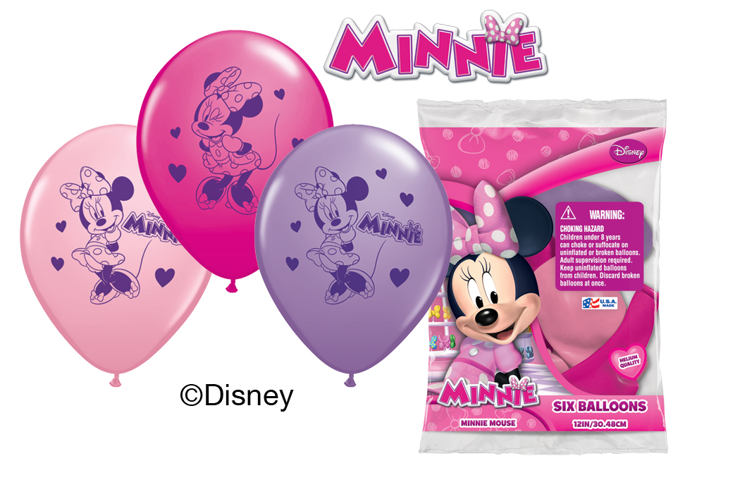 "12"" Minnie Mouse 6 pack Latex Balloons"