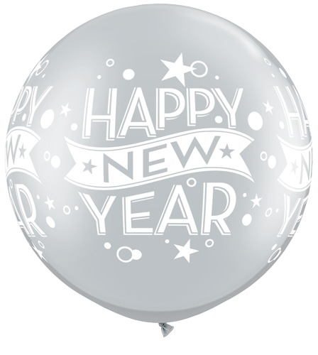 """30"""" Silver Happy New years Confetti balloon (2 Count)"""