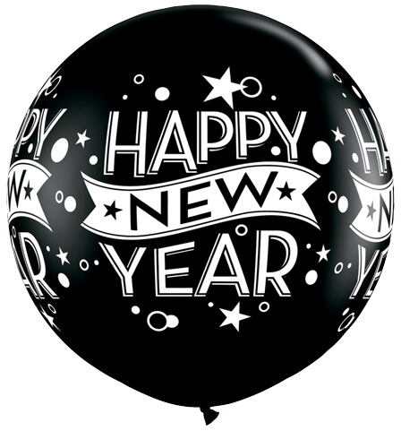 "36"" Black Happy New years Confetti balloon (2 Count)"