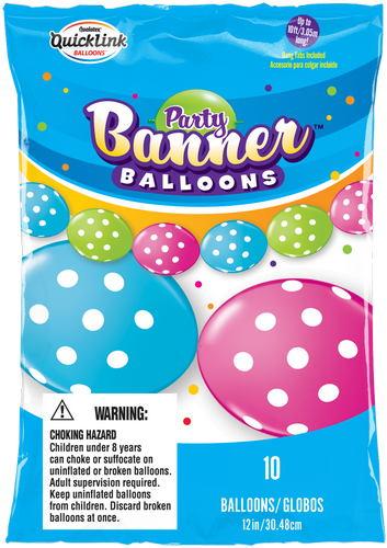 Party Banner Balloons 10 Count Big Polka Dots