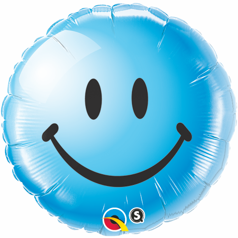 "18"" Blue Smiley Face Packaged Mylar Balloon"