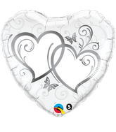 "18"" Heart Entwined Hearts Silver"