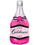 """39"""" Bottle Celebrate Pink Bubbly Wine"""