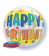 "22"" Single Bubble Birthday Fun And Yellow Bands"