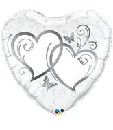 """36"""" Heart Entwined Hearts Silver"""