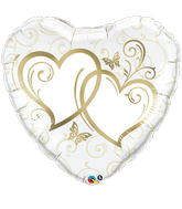 """36"""" Heart Entwined Hearts Gold"""