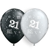 """11"""" Round Pearl Black And Silver 50 Count 21-A-Round"""