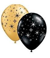"11"" Sparkles & Swirls Gold & Onyx Black (50 ct.)"