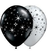 "11"" Sparkles & Swirls Silver & Onyx Black (50 ct.)"