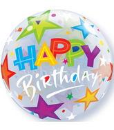 "22"" Birthday Brilliant Stars Plastic Bubble Balloons"