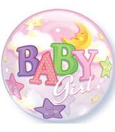 "22"" Baby Girl Moon & Stars Plastic Bubble Balloons"