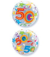 "22"" 50 Brilliant Stars Plastic Bubble Balloons"