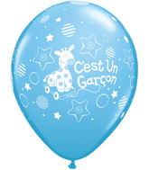 11 C'est un garçon petite girafe po. bleu pâle (50/sac)