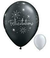 11 Félicitations – Étoiles argent et noir onyx perlé 50s