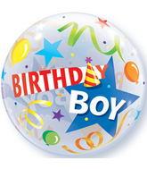 "22"" Birthday Boy Party Hat Plastic Bubble Balloons"