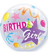 "22"" Birthday Girl Party Hat Plastic Bubble Balloons"