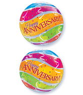 """22"""" Anniversary Colourful Bands Plastic Bubble Balloons"""