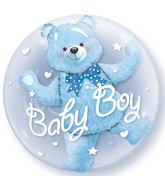 "24"" Baby Blue Bear Plastic Double Bubble Balloons"