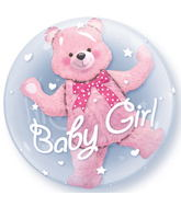 """24"""" Baby Pink Bear Plastic Double Bubble Balloons"""