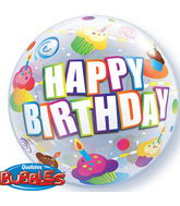 """22"""" Birthday Colourful Cupcakes Plastic Bubble Balloons"""