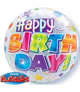 """22"""" Birthday Party Patterns Plastic Bubble Balloons"""