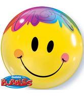 "22"" Bright Smile Face Plastic Bubble Balloons"
