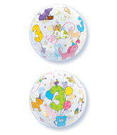 """22"""" Age 3 Cuddly Pets Plastic Bubble Balloons"""