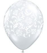 "11"" Damask Print Diamond Clear w/White Ink (50 ct.)"