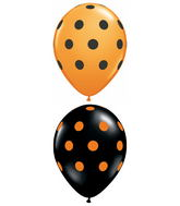 "11"" Big Polka Dots Assorted Orange, Black (50 ct.)"