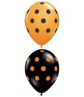 "11"" Big Polka Dots Assorted Orange, Black (50 ct.)"