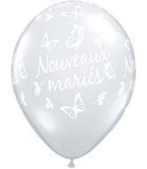 11 Nouveaux mariés – Papillons po. Diamant Clair (50/sac)