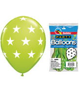 "11"" Big Stars Lime Green 5 count Latex Balloons"