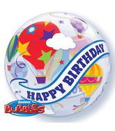 "22"" Birthday Hot Air Balloon Ride Plastic Bubble Balloons"
