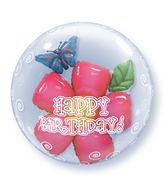 "24"" Birthday Flower Plastic Double Bubble Balloons"