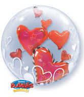 """24"""" Lovely Floating Hearts Plastic Double Bubble Balloons"""