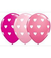 "11"" Big Hearts Latex Balloon Assortment (50 Count)"