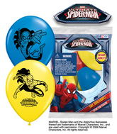 """12"""" Spider-Man  6 pack Latex Balloons"""
