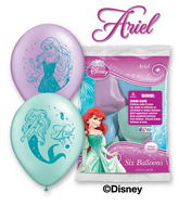 "12"" Ariel 6 pack Latex Balloons"