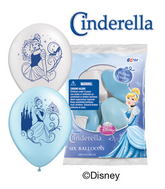 "12"" Cinderella 6 pack Latex Balloons"