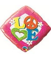 """18"""" Love Peace Sign Mylar Balloon"""