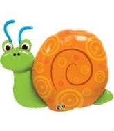 "36"" Cute Swirly Snail Orange Shell Jumbo Mylar Balloon"