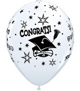 "11"" Congrats Cap white Latex Balloons (50 Count)"