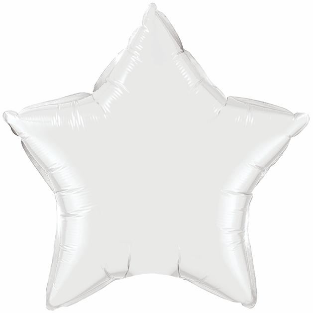 """36"""" Star Foil Mylar Balloon White"""